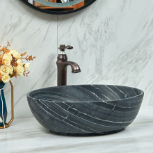 510x380x150mm Oval Above Counter Marble Surface Stone Basin