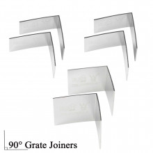 90° Lauxes Silk Silver Pair Shower Grate Joiners 22/26/35mm