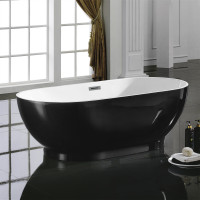 1700x845x550mm Koko Oval Bathtub Freestanding Acrylic Gloss Black & Gloss White Bath tub with Overflow Hole Slim Edge Lucite Finishing
