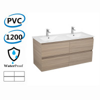 1200x460x560mm Bathroom Floating Vanity Wall Hung Stella Oak PVC Cabinet ONLY & Double Bowls Ceramic Top