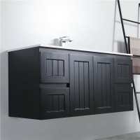 1200mm Wall Hung PVC Vanity with Matt Black Finish Hampton Style Single Bowl Cabinet ONLY for Bathroom