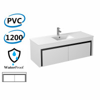 1200x460x430mm Bathroom Floating Vanity Wall Hung Glossy White Black PVC Cabinet ONLY & Ceramic/Poly Top Available