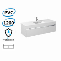 1200x460x420mm Bathroom Floating Vanity Wall Hung Glossy White Chrome Strip PVC Cabinet ONLY & Ceramic/Poly Top Available
