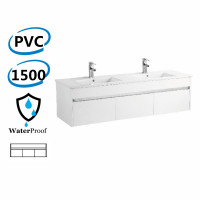 1500x460x420mm Bathroom Floating Vanity Wall Hung Glossy White Chrome Strip PVC Cabinet ONLY & Double Bowls Ceramic Top Available