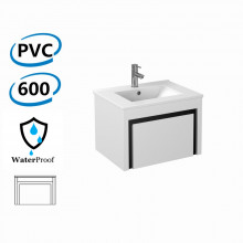 600x460x430mm Bathroom Floating Vanity Wall Hung White Black PVC Cabinet ONLY & Ceramic Top/Poly Top Available