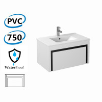 750x460x430mm Bathroom Floating Vanity Wall Hung Glossy White Black PVC Cabinet ONLY & Ceramic/Poly Top Available