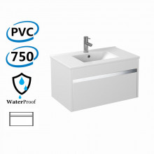 750x460x420mm Bathroom Floating Vanity Wall Hung Glossy White Chrome Strip PVC Cabinet ONLY & Ceramic/Poly Top Available