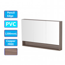 1200Lx750Hx155Dmm Shaving Cabinet With Mirror PVC Board Wall Hung Storage Stella Oak