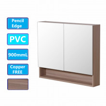 900Lx750Hx155Dmm Shaving Cabinet With Mirror PVC Board Wall Hung Storage Stella Oak