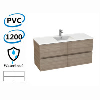 1200x460x560mm Bathroom Floating Vanity Wall Hung Stella Oak PVC Cabinet ONLY & Ceramic/Poly Top Available