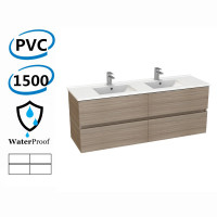 1500x460x560mm Bathroom Floating Vanity Wall Hung Stella Oak PVC Cabinet ONLY & Double Bowls Ceramic Top Available