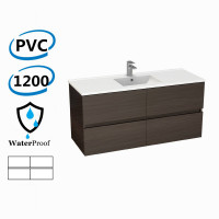 1200x460x560mm Bathroom Floating Vanity Wall Hung Stella Walnut PVC Cabinet ONLY & Ceramic/Poly Top Available