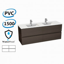 1500x460x560mm Bathroom Floating Vanity Wall Hung Stella Walnut PVC Cabinet ONLY & Double Bowls Ceramic Top Available