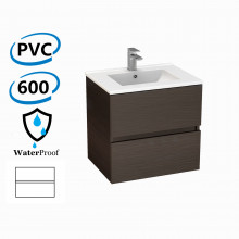 600x460x560mm Bathroom Floating Vanity Wall Hung Stella Walnut PVC Cabinet ONLY & Ceramic Top/Poly Top Available