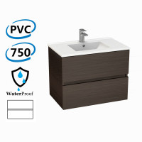 750x460x560mm Bathroom Floating Vanity Wall Hung Stella Walnut PVC Cabinet ONLY & Ceramic/Poly Top Available