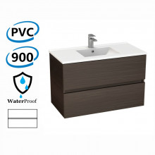 900x460x560mm Bathroom Floating Vanity Wall Hung Stella Walnut PVC Cabinet ONLY & Ceramic/Poly Top Available