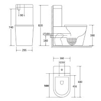 680x360x820mm Ceramic White Box Rim Back To Wall Faced Toilet Suite Back/Left and Right Bottom Inlet