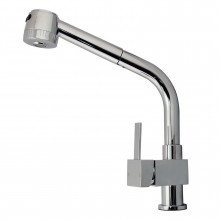 Square Brass Chrome 360° Swivel Pull Out Kitchen Sink Mixer Tap