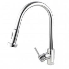 Euro Chrome Solid Brass Round Mixer Tap with 360 Swivel and Wide Pull Out and Multi Spray Option for kitchen