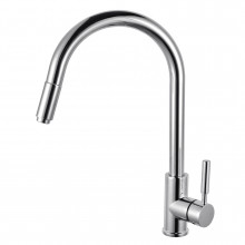 Euro Chrome Solid Brass Round Mixer Tap with 360 Swivel and Pull Out for kitchen