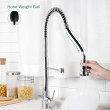 Tall Spring 360° Swivel Chrome Pull Out Kitchen Sink Mixer Tap Solid Brass