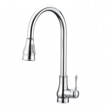 Euro Round Chrome Vintage 360° Swivel Pull Out Kitchen Sink Mixer Tap Solid Brass