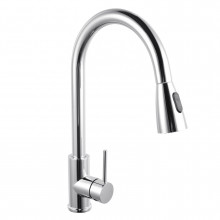 Euro Chrome Solid Brass Round Mixer Tap with 360 Swivel and Pull Out and Multi Spray Option for kitchen