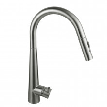 Euro Brushed Nickel Solid Brass Round Mixer Tap with Smart Touch and 360 Swivel and Pull Out for kitchen