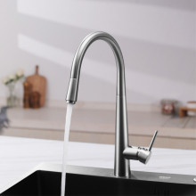 Euro Brushed Nickel Solid Brass Round Mixer Tap with 360 Swivel and Pull Out for kitchen