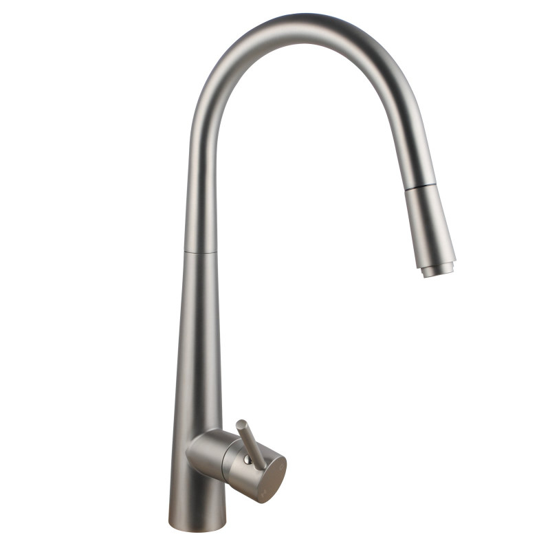 Euro Round Brushed Nickel 360° Swivel Pull Out Kitchen Sink Mixer Tap Solid Brass KF1021BU