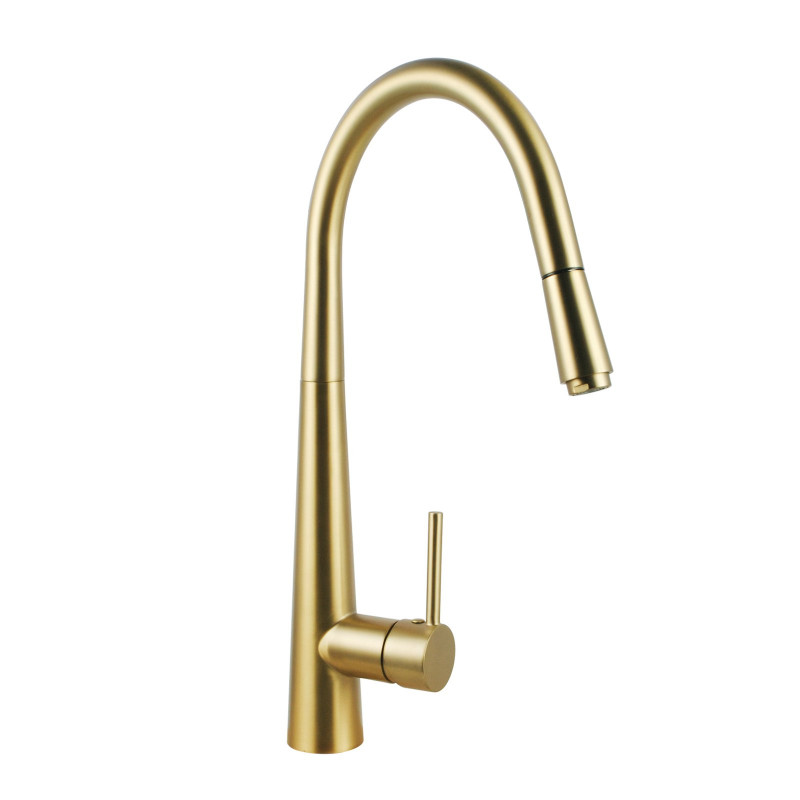 round brushed yellow gold 360° swivel pull out kitchen sink mixer tap KT21.04