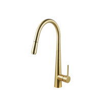 Norico Round Brushed Yellow Gold 360° Swivel Pull Out Kitchen Sink Mixer Tap