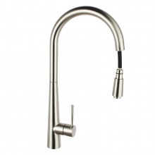 Chrome Solid Brass Round Mixer Tap with 360 Swivel and Pull Out for kitchen