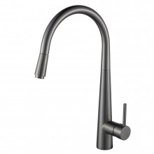 Euro Round Gunmetal Grey 360° Swivel Pull Out Kitchen Sink Mixer Tap Solid Brass