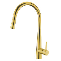 Euro Round Golden 360° Swivel Pull Out Kitchen Sink Mixer Tap