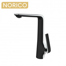Norico Esperia Chrome & Matt Black Solid Brass Tall Basin Mixer for kitchen