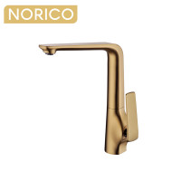 Norico Esperia Brushed Yellow Gold Solid Brass Tall Sink Mixer Tap for kitchen