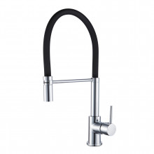 Euro Chrome Solid Brass Round Mixer Tap with 360 Swivel and Pull Out Spout for kitchen