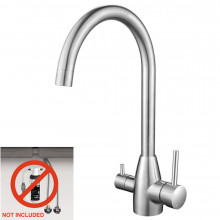 Euro Brushed Nickel Solid Brass Round 3 Way Filter Tap with 360 Swivel and Purifier for kitchen