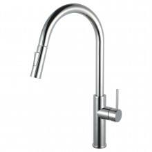 Euro Chrome Solid Brass Round Mixer Tap with 360 Swivel and Pull Out and Spray Option for kitchen