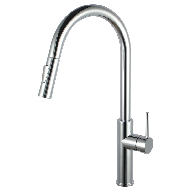 Euro Round Chrome 360° Swivel Pull Out Kitchen Sink Mixer Tap with Sprayer KF1060