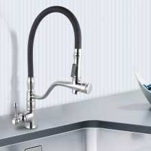Chrome 360° Swivel Pull Out Kitchen Sink Mixer Tap Double Spout Solid Brass