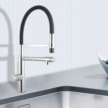 Round Chrome 360° Swivel Pull Out Kitchen Sink Mixer Tap Double Spout Solid Brass