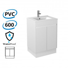 600x460x880mm Bathroom Vanity with Kickboard White Polyurethane PVC Freestanding Cabinet ONLY & Thin Ceramic/Poly Top Available