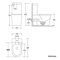 680x360x820mm Kasey Ceramic Black Box Rim Back To Wall Faced Toilet Suite Back/Left and Right Bottom Inlet