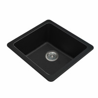 422x422x203mm Black Granite Quartz Stone Kitchen/Laundry Sink Single Bowl Top/Under Mount
