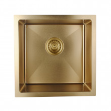 440x440x205mm 1.2mm Round Corner Stainless Steel Brushed Yellow Gold Single Bowl Top/Flush/Undermount Kitchen/Laundry Sink