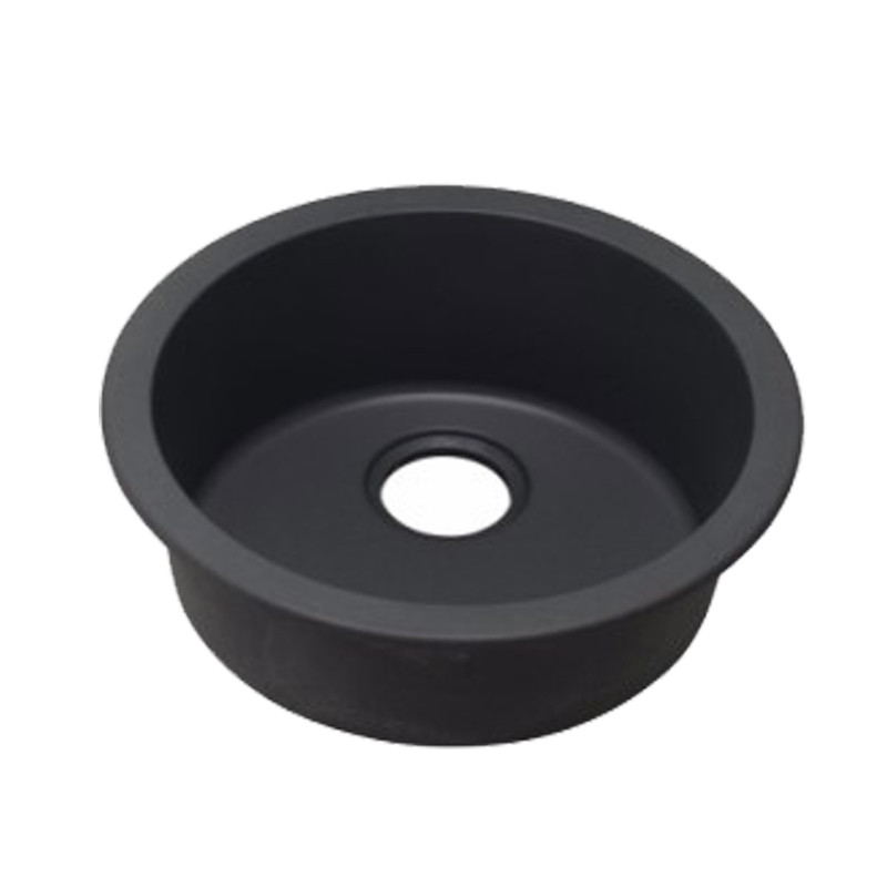 Black Granite Quartz Stone Kitchen/Laundry Sink Round Single Bowl Top/Under Mount 460mmKS460