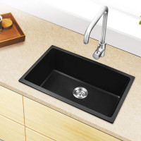 MACHO 680x440x220mm Black Single Bowl Granite Quartz Stone Kitchen/Laundry Sink NO Overflow Top/Under Mount