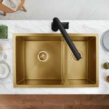 710x450x205mm 1.2mm Brushed Yellow Gold Handmade Round Corners Double Bowls Top/Under/Flush Mount Kitchen Sink